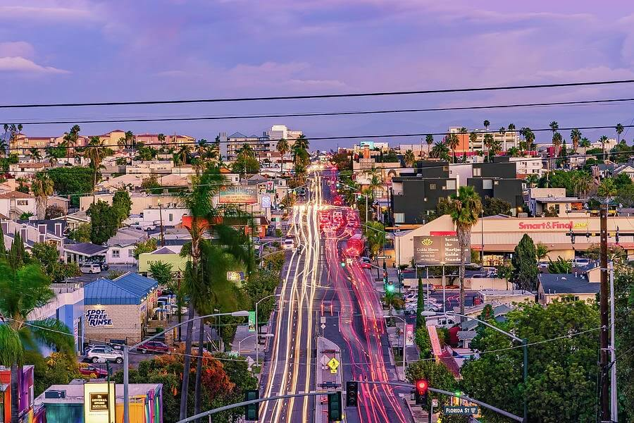 Time-lapse photo of North Park, San Diego at sunset